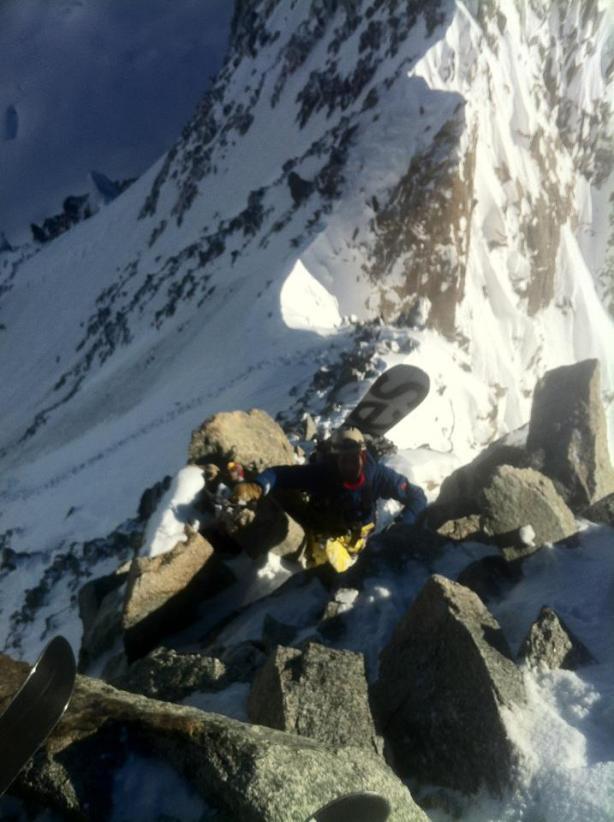 Luca climbing the start of the summit ridge.