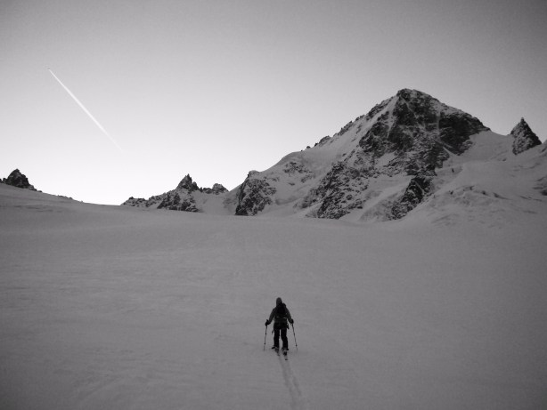 Tom skinning towards the Aiguille du Chardonnet.