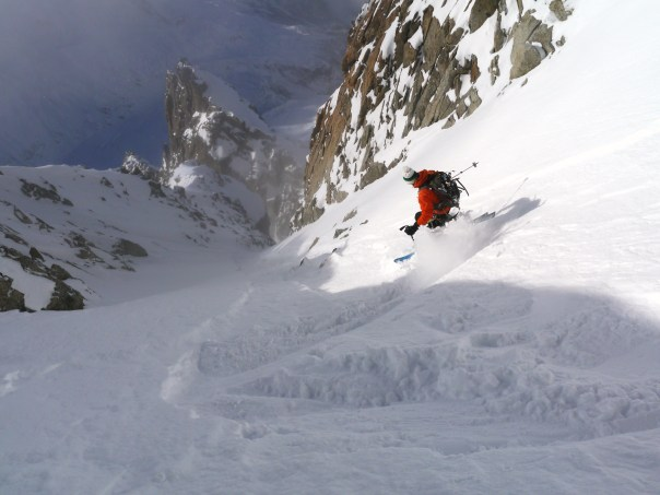 Tom skiing the West couloir.