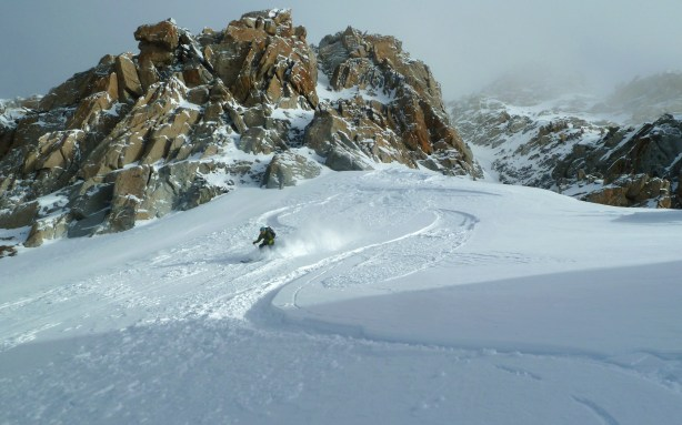 Me skiing down from the Col Adams Riley.