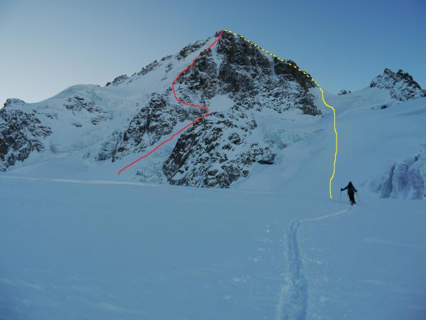 Our route up the Migot spur in red and downthe West couloir in yellow.