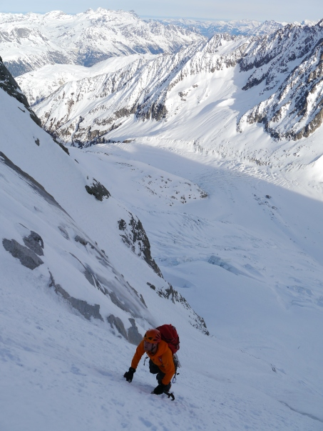 Jon climbing low in the couloir.