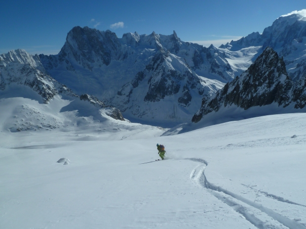 Skiing down the glacier to town. © Tom Grant