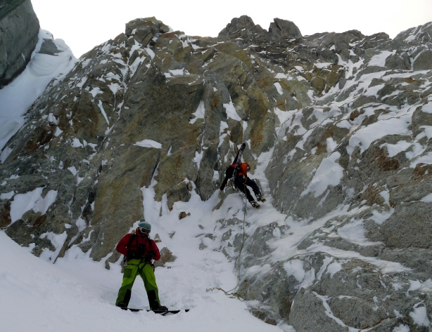 Tom and Luca at the end of the rappel into the exit gully. © Ben Briggs