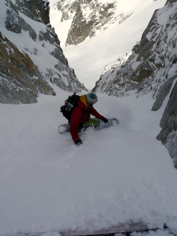 Luca in the exit couloir. © Ben Briggs