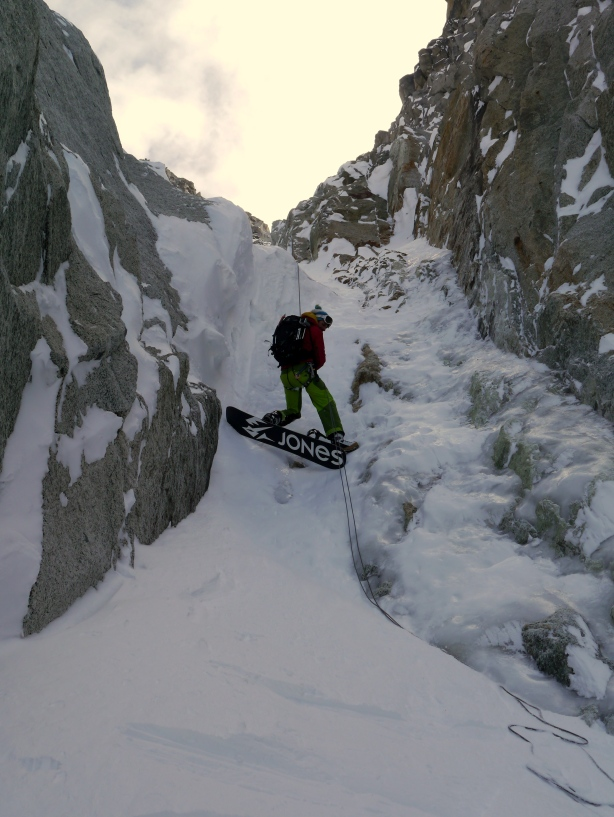 Luca on the small rap near the end of the exit couloir.