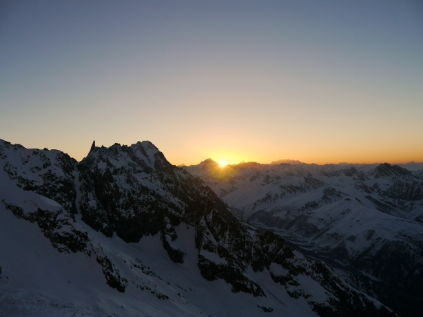 Sunrise from the lower ramps on the Aiguille Blanche.