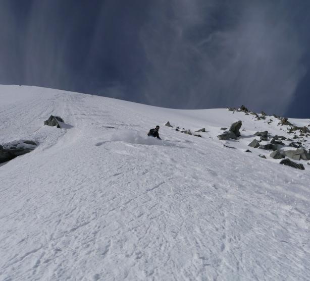 Mikko skiing the summit slopes.