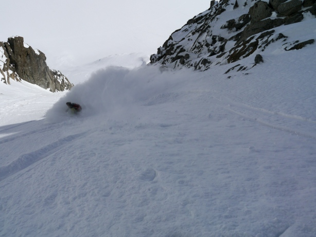 Tom in the exit couloir.