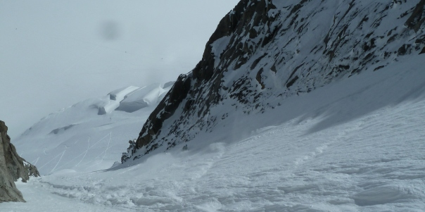 Ben in the exit couloir. © Tom Grant