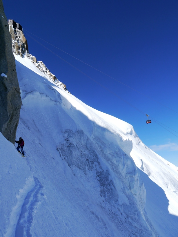 Bird coming off the rope after crossing the ice gully.