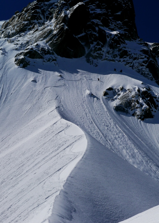 Looking back up at my track on the spine. © Ben Briggs