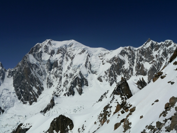 The east faces of Mont Blanc and Mont Maudit.