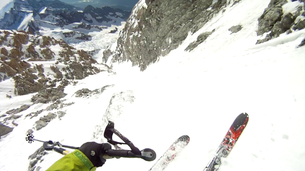 Skiing the couloir.