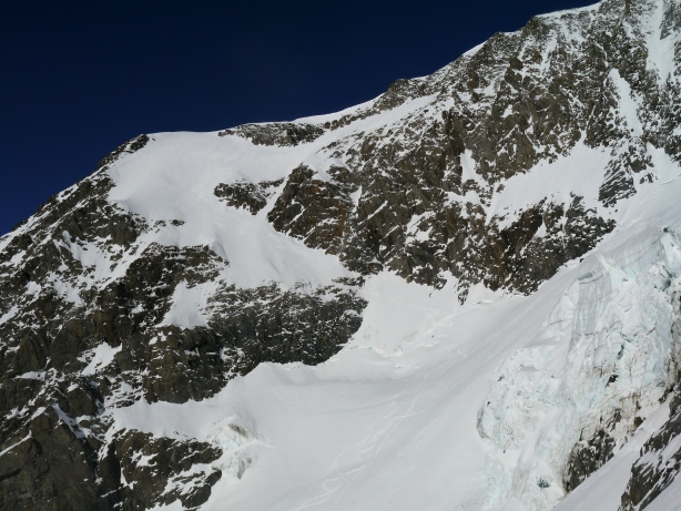 Upper part of the route- Tricot south face.  © Ben Briggs