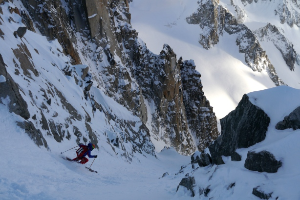 Tom skiing in the upper part of the couloir.