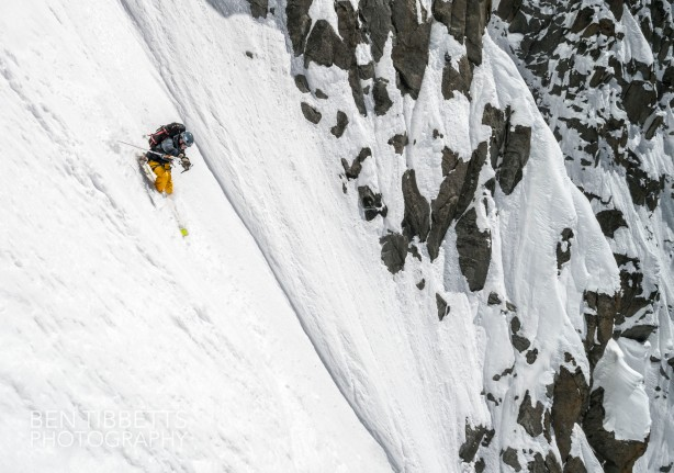 Jesper in the middle of the couloir. Ben Tibbetts