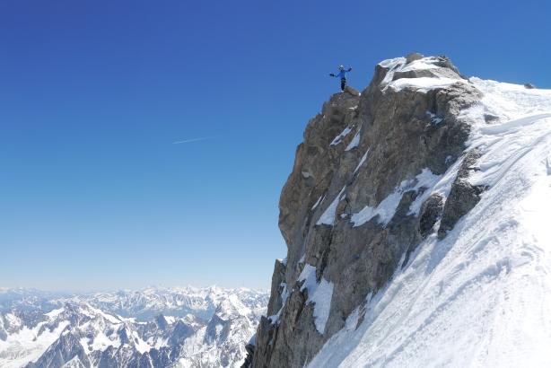 Brendan on the summit of Mont Maudit. © Ben Briggs