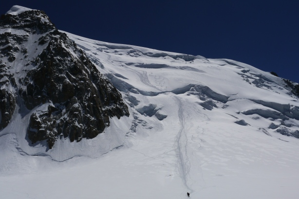 Our tracks on the Mont Blanc du Tacul North face. © Ben Briggs