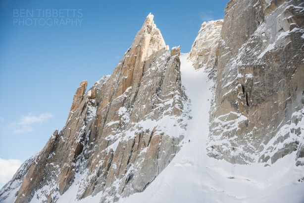 Skiing out the bottom of the couloir.