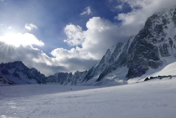 Skinning up the Argentiere glacier.